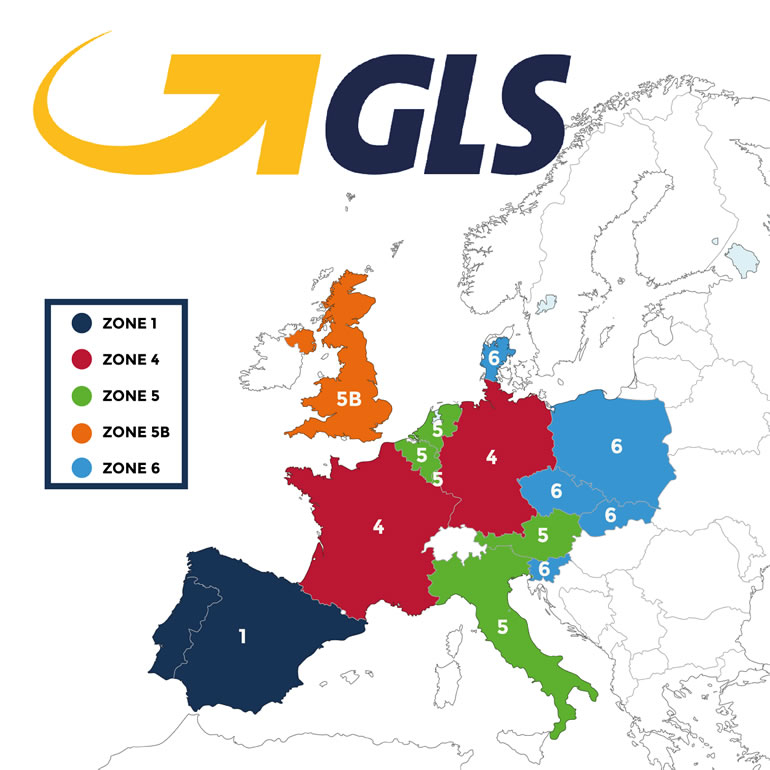GLS shipping zone map